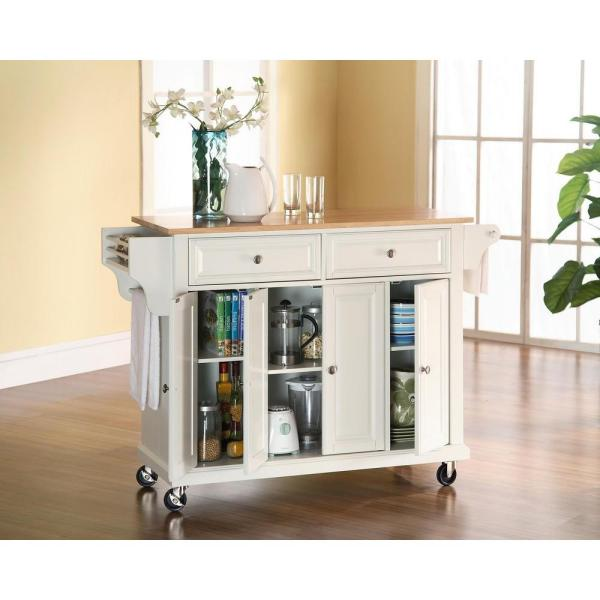 Crosley White Kitchen Cart With Natural Wood Top KF30001EWH