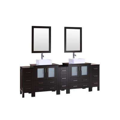 96 in. W Double Bath Vanity with Tempered Glass Vanity Top in Black with White Basin and Mirror