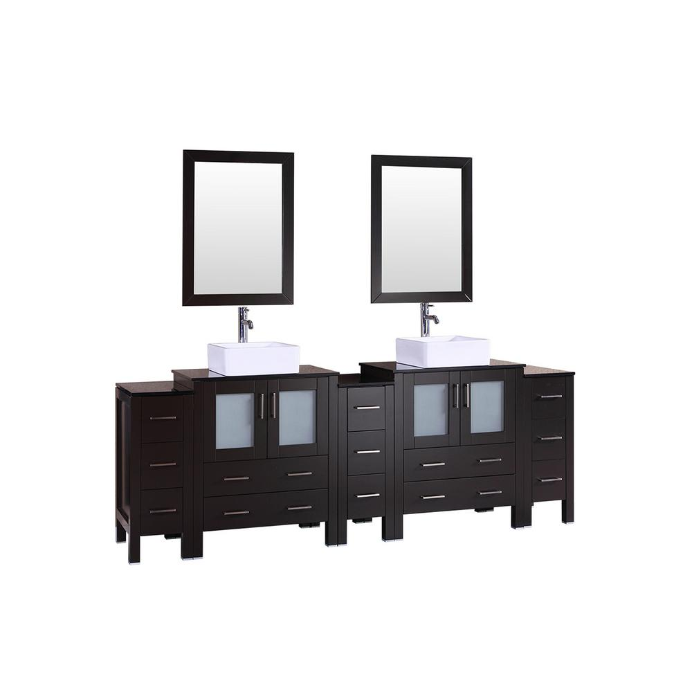 96 in. W Double Bath Vanity with Tempered Glass Vanity Top