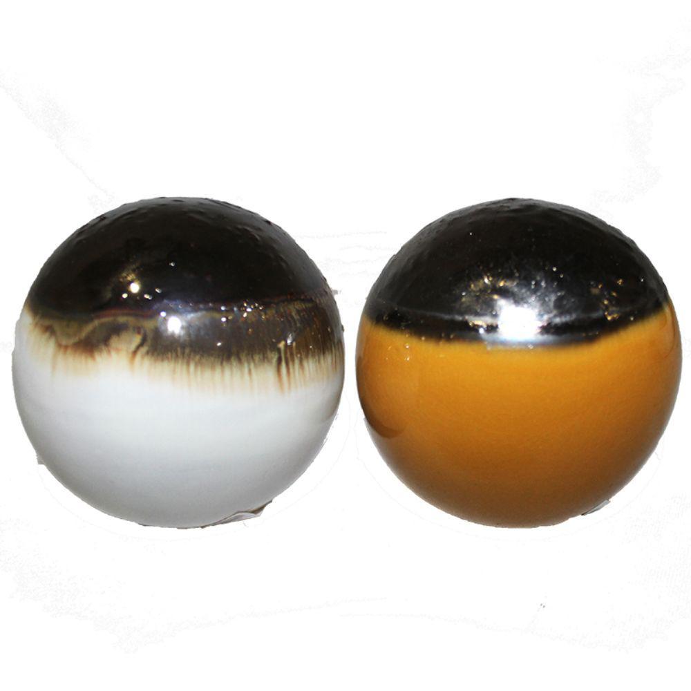 Benzara Multi Color Ceramic Decorative Ball Set Of 2 ETD EN111299