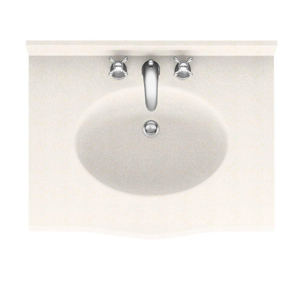 Swanstone Europa 31 in. Solid Surface Vanity Top with Basin in Baby's Breath-DISCONTINUED