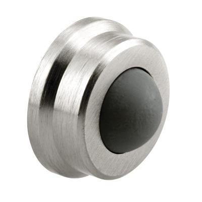 1 in., Cast Brass, Brushed Chrome, Wall Stop with Convex Bumper