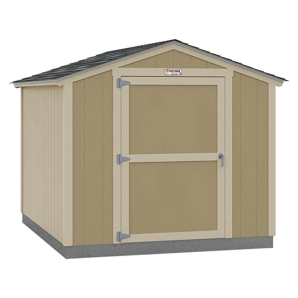 Tuff Shed Installed The Tahoe Series Standard Ranch 8 ft. x 10 ft. x 7 ft. 10 in. Un-Painted Wood Storage Building Shed, Beige / Cream -  8x10 SR E1 NP