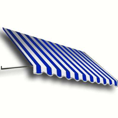 12 ft. Dallas Retro Window/Entry Awning (24 in. H x 42 in. D) in Bright Blue/White Stripe