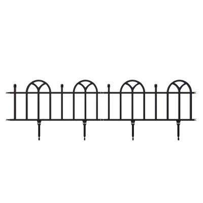 10 in. x 9 in. x 0.75 in. Decorative Plastic Black Garden Edging with Victorian Border
