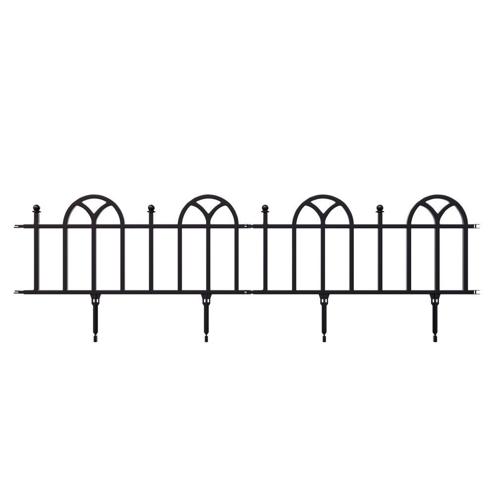 10 in. Plastic Black Interlocking Garden Edging Fence (8 ft. Overall Length) (4-Piece Set)