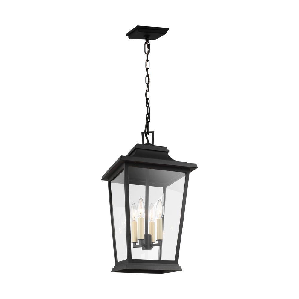 Warren Medium 4-Light Textured Black Hanging Pendant with Clear Glass