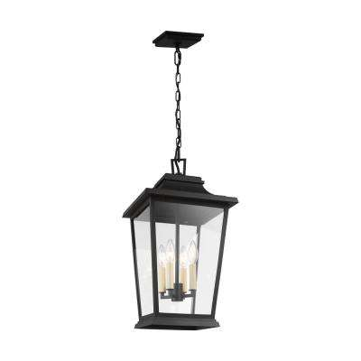 Warren Medium 4-Light Textured Black Hanging Pendant with Clear Glass