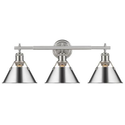 Orwell 4.875 in. 3-Light Pewter Vanity Light with Chrome Shade