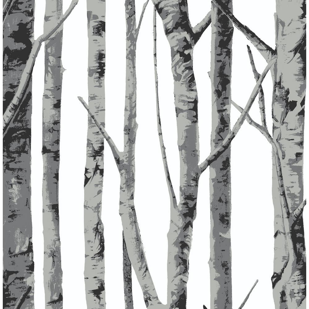 Monochrome Birch Trees Peel and Stick Wallpaper 30.75 sq. ft.