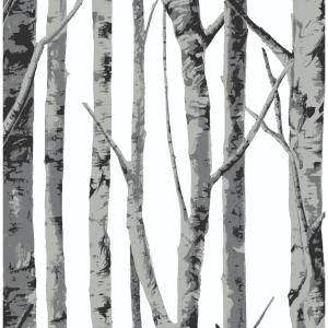 Deals on NextWall Monochrome Birch Trees Peel and Stick Wallpaper