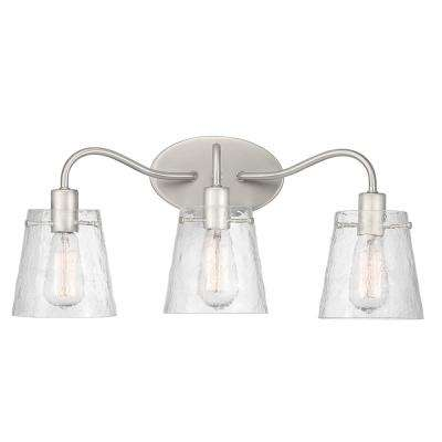 Archdale 8 in. 3-Light Brushed Nickel Vanity Light with Clear Water Glass