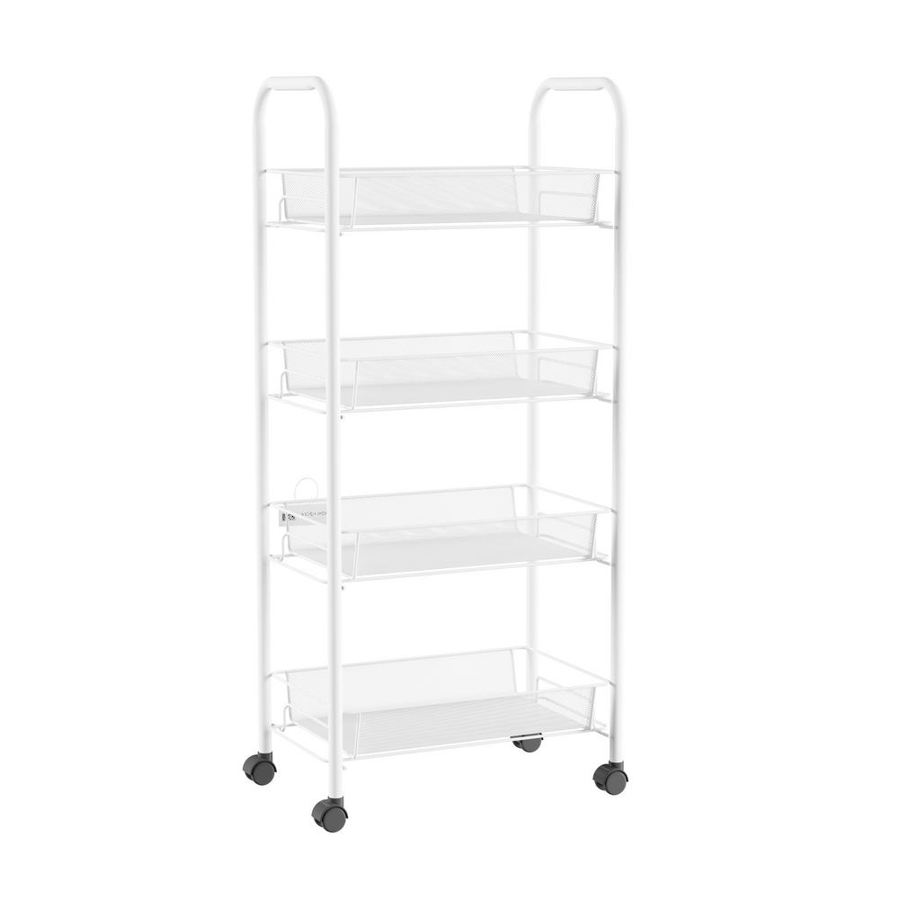 4 Tier Metal Wheeled Narrow Storage Shelf Organizer Cart