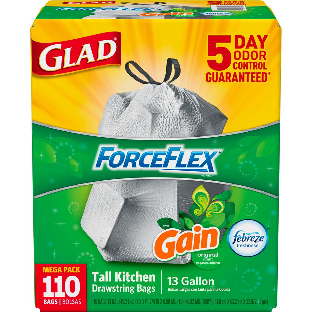 13 Gal. ForceFlex Tall Kitchen Gain Original Trash Bags (110-Count)