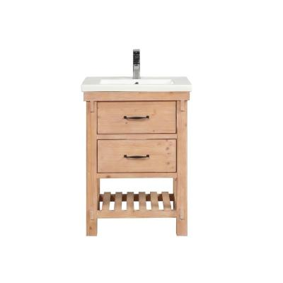 Marina 24 in. Single Bath Vanity in Driftwood with Ceramic Vanity Top in White with Integrated Basin