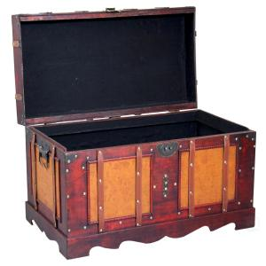 Large Antique Cherry Style Steamer Trunk Decorative Storage Box