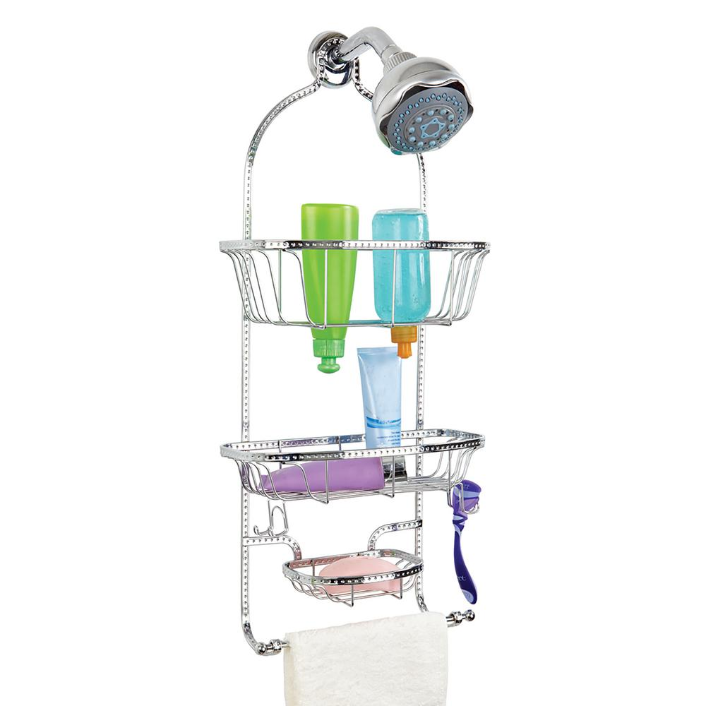 Hammered Wire Shower Caddy in Glossy Chrome