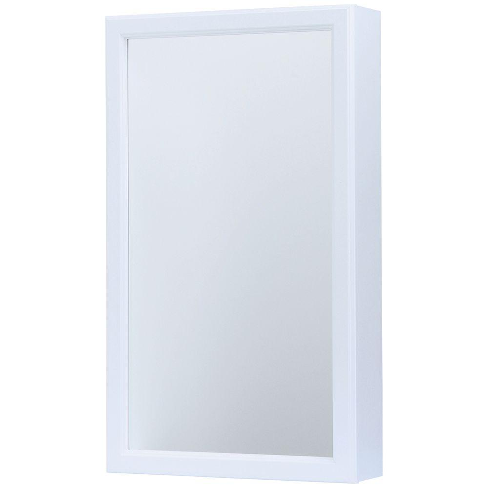 GlacierBay Glacier Bay 15-1/4 in. W x 26 in. H Framed Surface-Mount Swing-Door Bathroom Medicine Cabinet in White