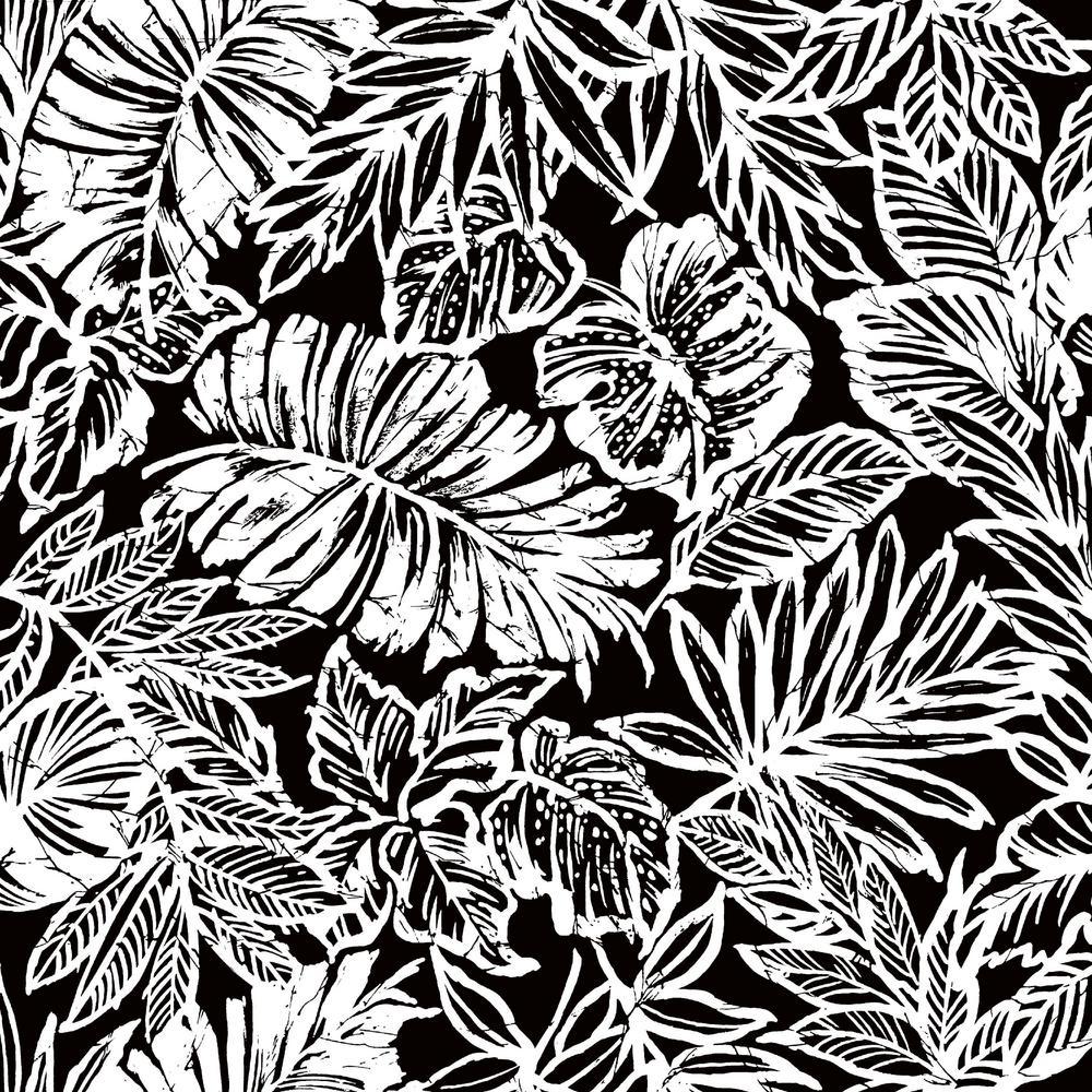 RoomMates 28.29 sq. ft. Tropical Leaf Black Peel and Stick Wallpaper