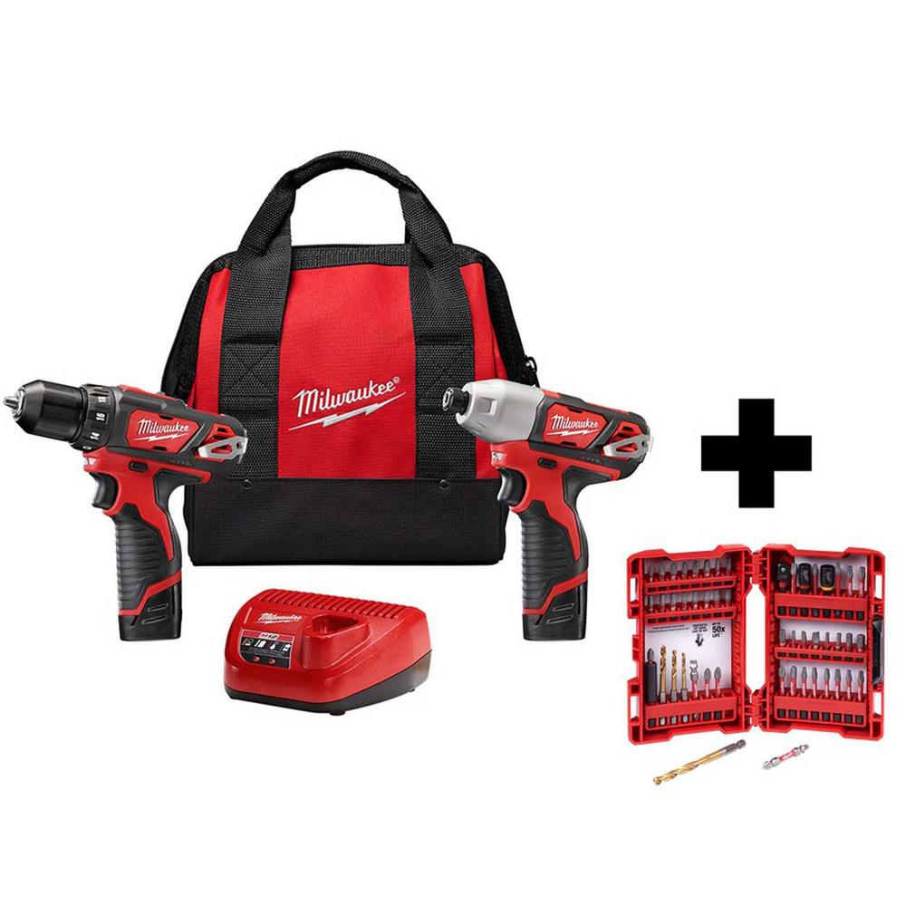 Milwaukee M12 12-Volt Lithium-Ion Cordless Drill Driver/Impact Driver Combo Kit (2-Tool) with Two 1.5 Ah Batteries and Bit Set