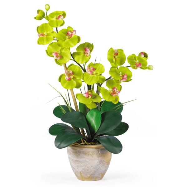 Nearly Natural 25 in. Double Phalaenopsis Silk Orchid Flower Arrangement in