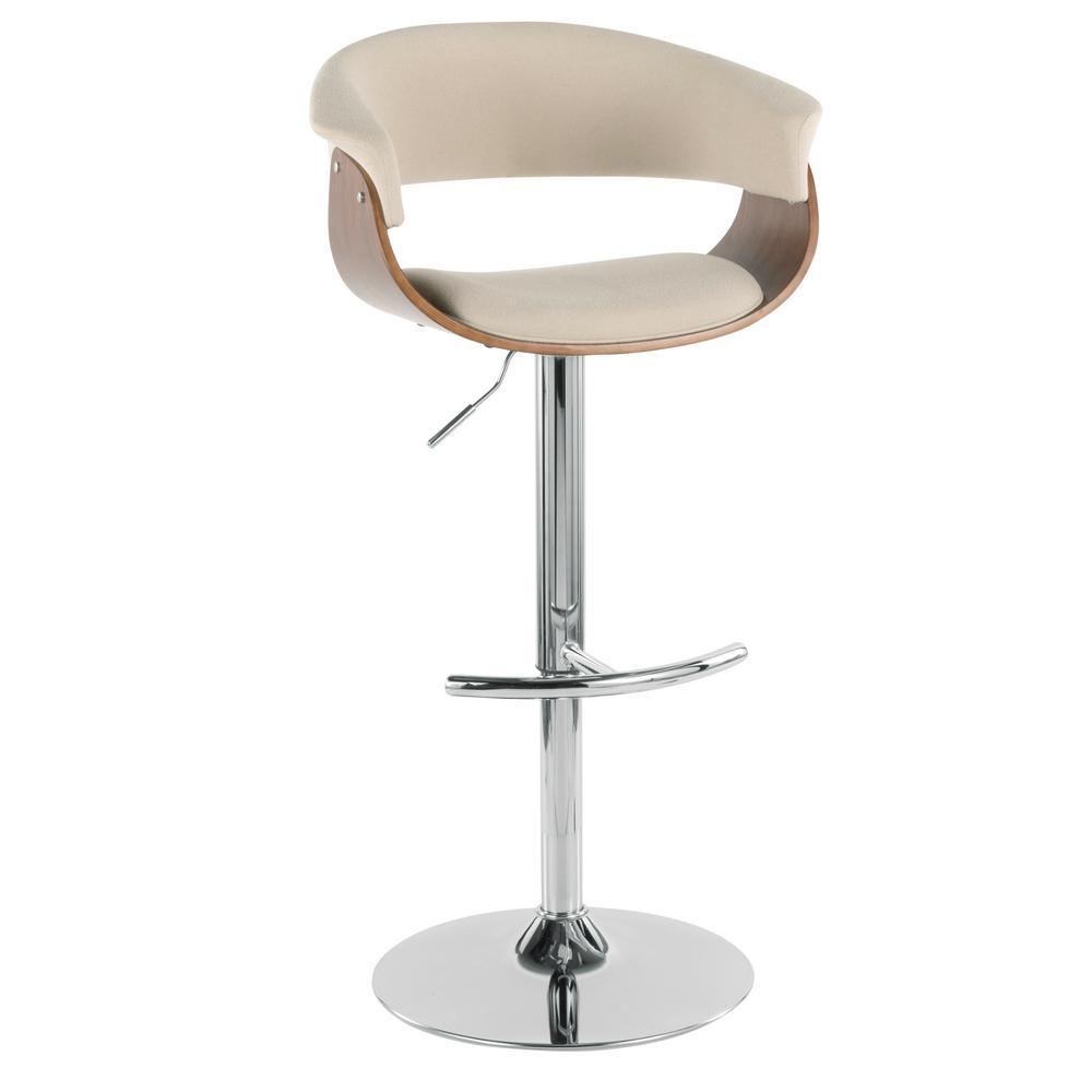 4197cb05f357 Lumisource Vintage Mod Walnut and Cream Adjustable Barstool BS-JY ...