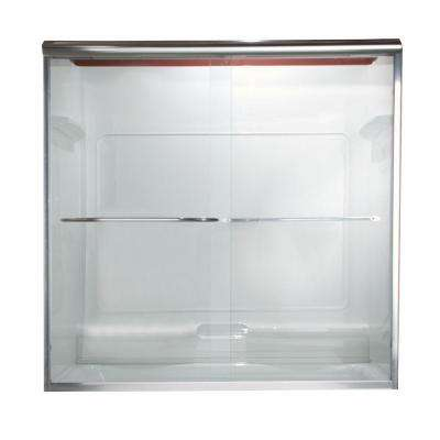 Euro 44 in. x 70 in. Semi-Frameless Sliding Tub Door in Silver with Clear Glass