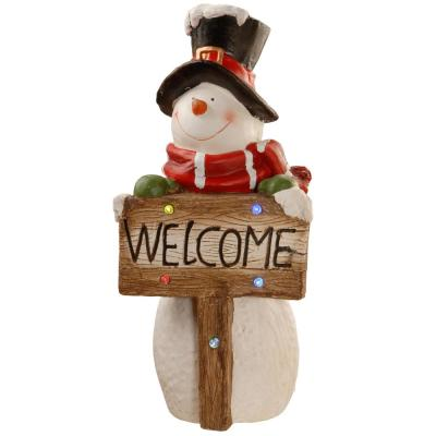 28 in. Magnesia Snowman with Color Changing LED Battery Operated Lights