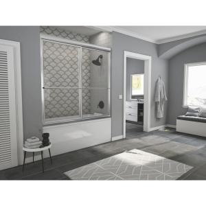 Newport 52 in. to 53.625 in. x 56 in. Framed Sliding Bathtub Door with Towel Bar in Chrome with Clear Glass