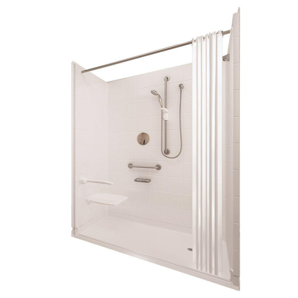 Ella Elite Satin 37 in. x 60 in. x 77-1/2 in. 5-piece Barrier Free Roll In Shower System in White with Right Drain