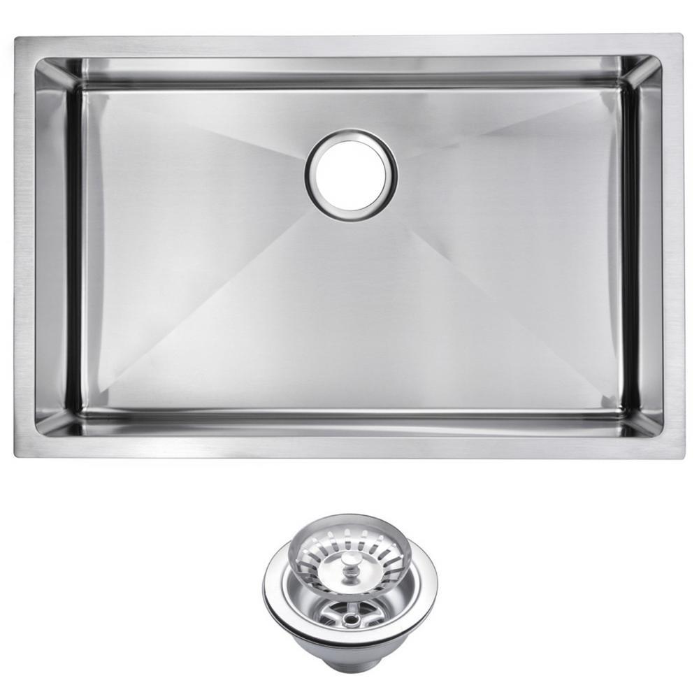 Undermount Stainless Steel 30 in. Single Basin Kitchen Sink with Strainer in Satin