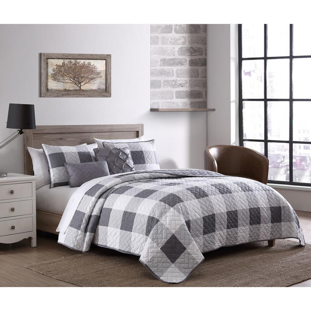 Buffalo Plaid 5pc Gray/White King Quilt Set with Throw Pillows