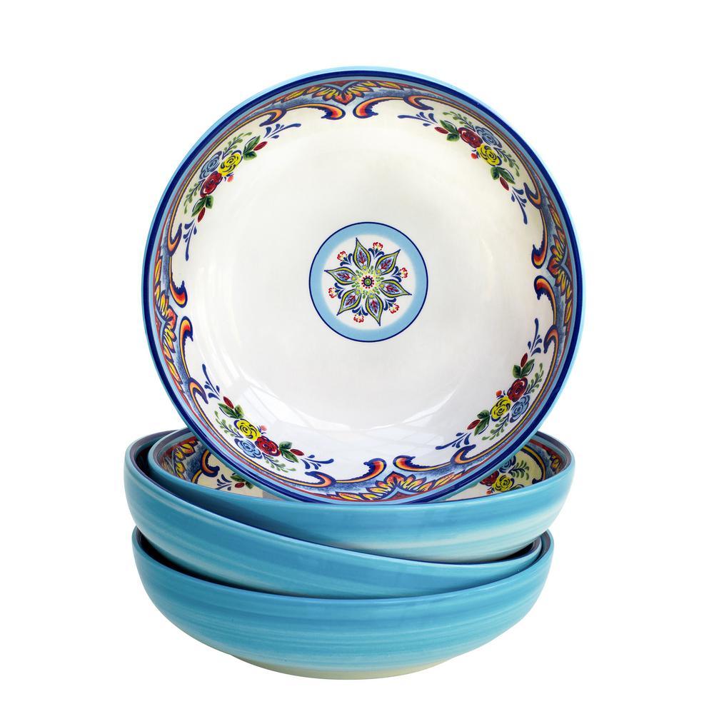 Zanzibar 4-Piece Earthenware Pasta Bowl Set