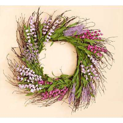 20 in. Purple Flower Wreath