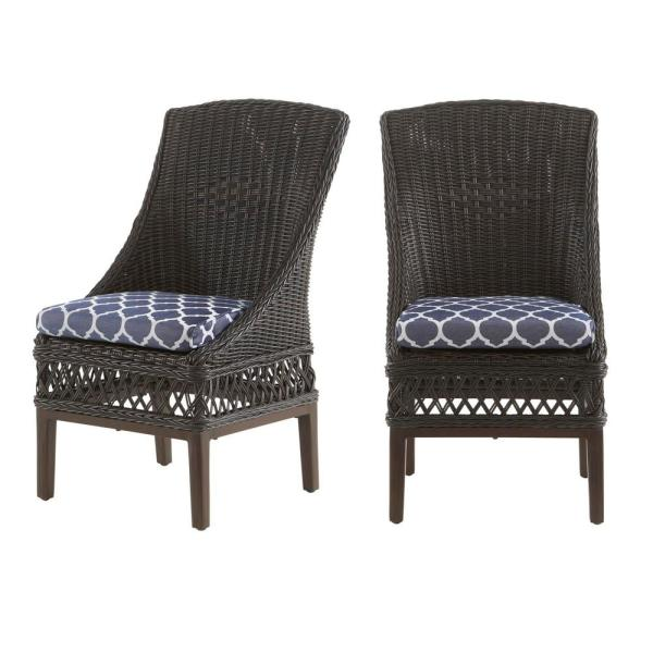 Woodbury Dark Brown Wicker Outdoor Patio Dining Chair with CushionGuard Midnight Trellis Navy Blue Cushions (2-Pack)