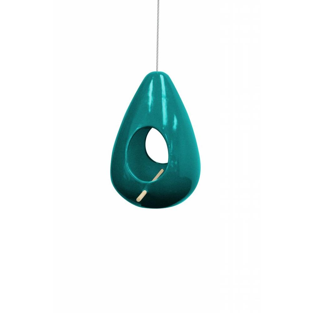 10 in. Hanging Turquoise Teardrop Shape Birdhouse