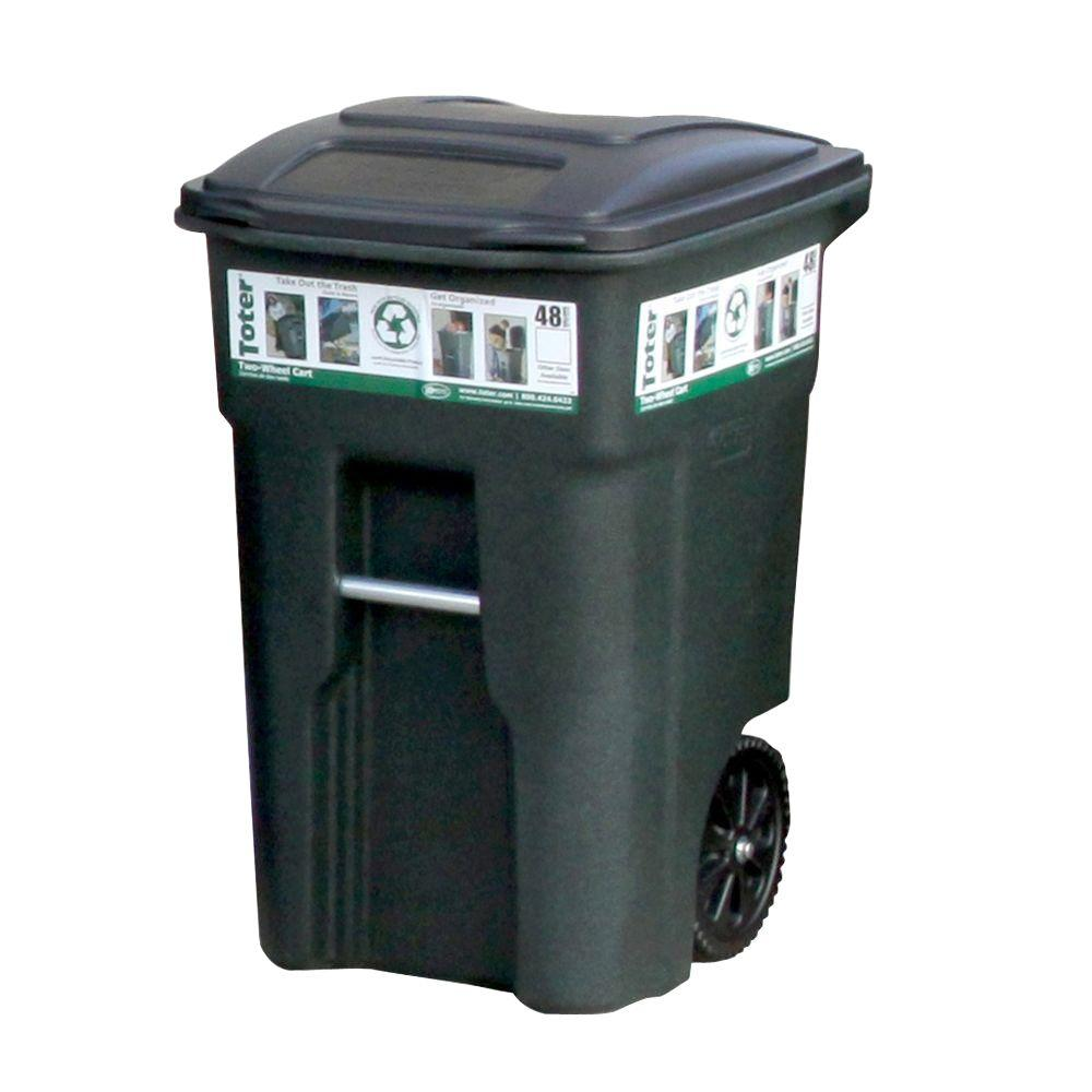 Toter 48 Gal. Green Trash Can with Wheels and Attached Lid
