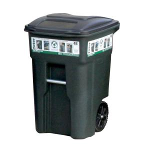 green trash can with wheels and attached lid - Brute Trash Can