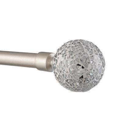 36 in. - 72 in.Adjustable Length 1 in. Dia Curtain Rod Kit in Matte Silver with White Mosaic Finial