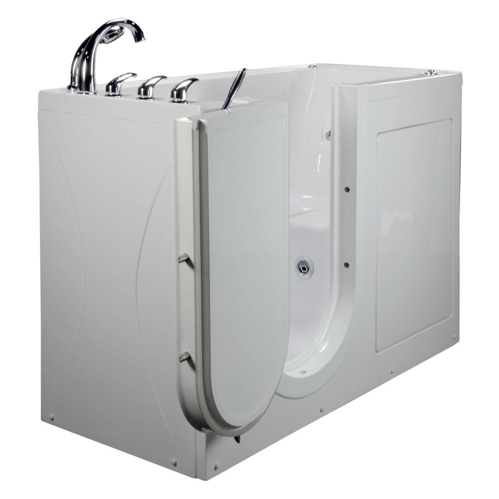 60 in. Lounger Acrylic Walk-In Whirlpool Bathtub in White with Outward Swing Door Fast Fill Faucet Left 2 in. Drain