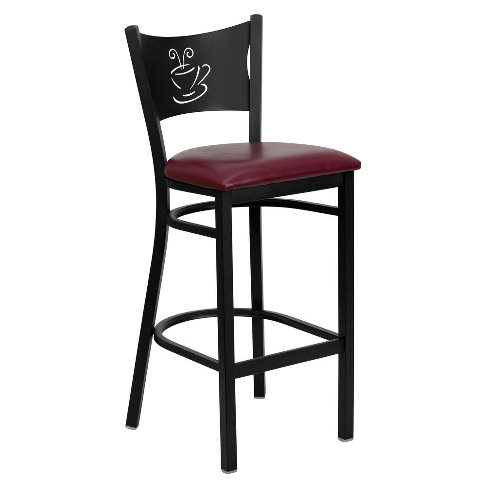 30.5 in. Black and Burgundy Cushioned Bar Stool