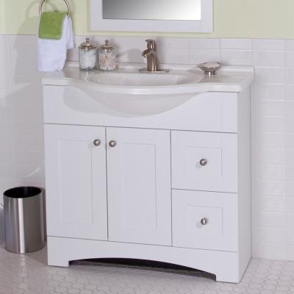 Del Mar 37 in. W x 19 in. D Bath Vanity in White with Vanity Top in White and MOEN Faucet