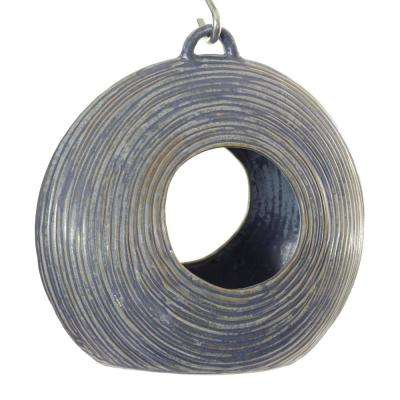 10 in. Blue Ceramic Circle Circle Fly Through Feeder