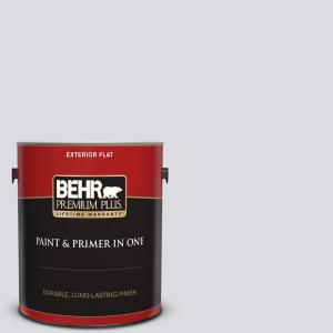 Behr Premium Plus 1 Gal N540 1 Script White Flat Exterior Paint And Primer In One 405001 The Home Depot