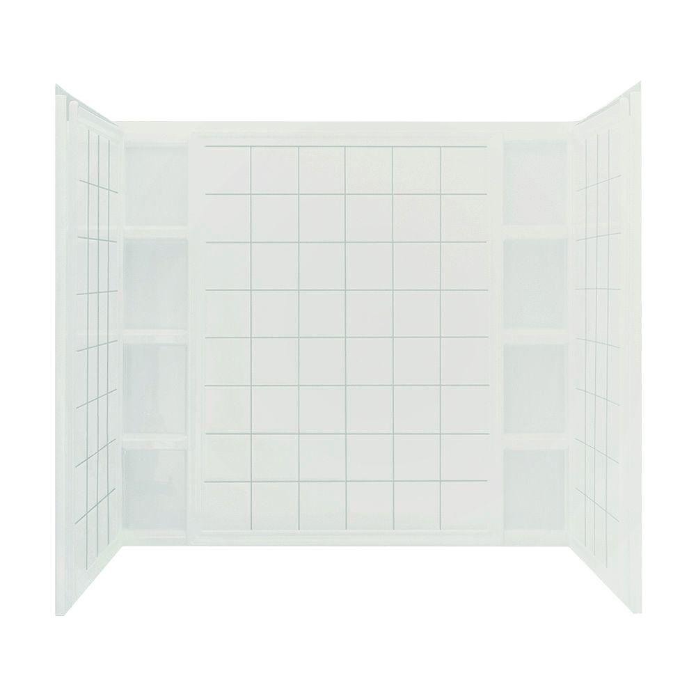 STERLING Ensemble 60 in. x 43-1/2 in. x 54-1/4 in. 3-piece Direct-to-Stud Tub Wall Set with Backer in White