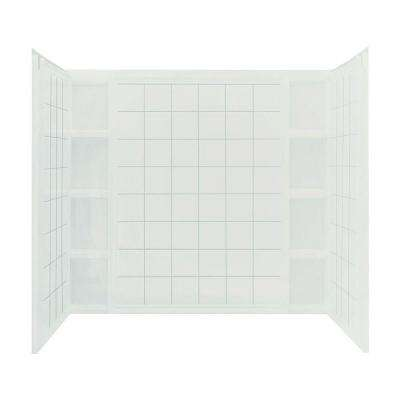 Ensemble 60 in. x 43-1/2 in. x 54-1/4 in. 3-piece Direct-to-Stud Tub Wall Set with Backer in White