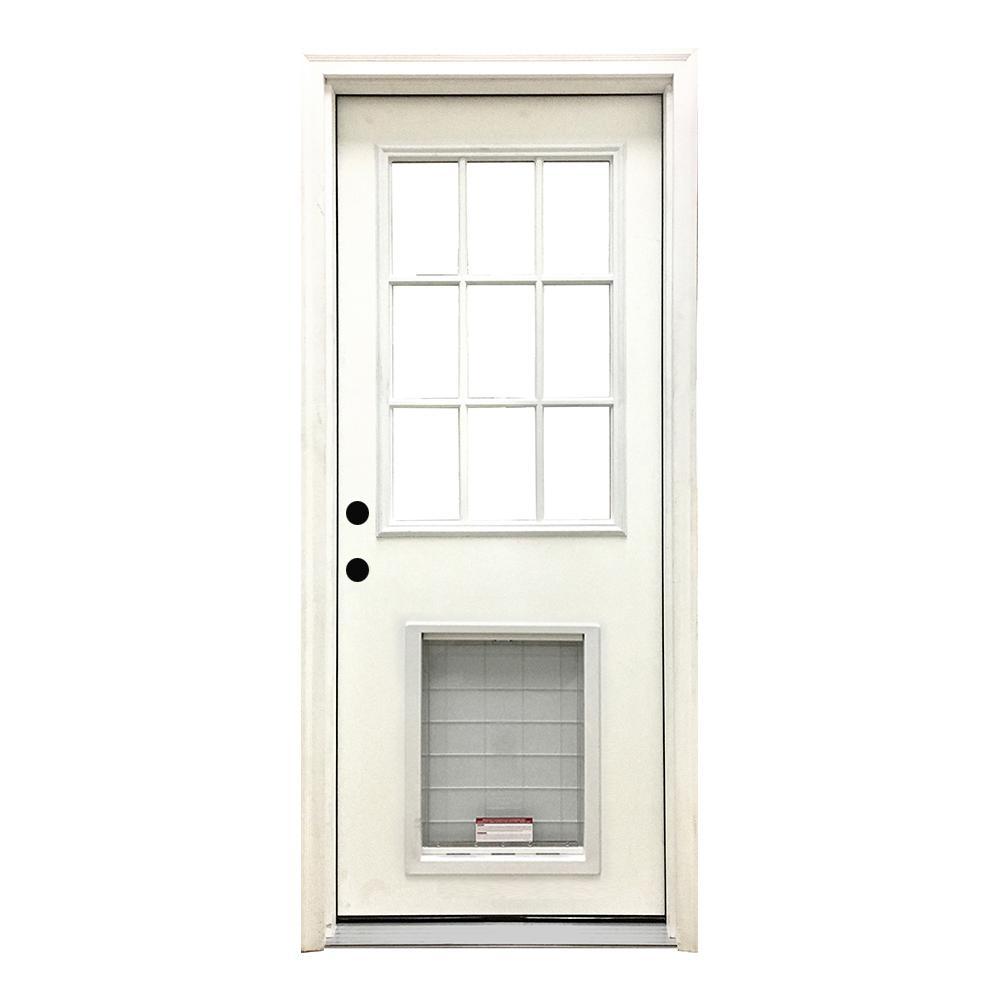 36 in. x 80 in. Classic White Primed RHIS 9 Lite Clear Fiberglass Prehung Front Door w/ SL Pet Door