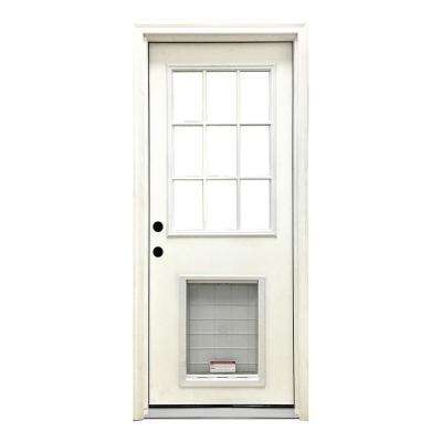 home depot dog door. 36 in  x 80 Classic 9 Lite RHIS White Primed Textured Fiberglass Prehung Doors With Glass The Home Depot
