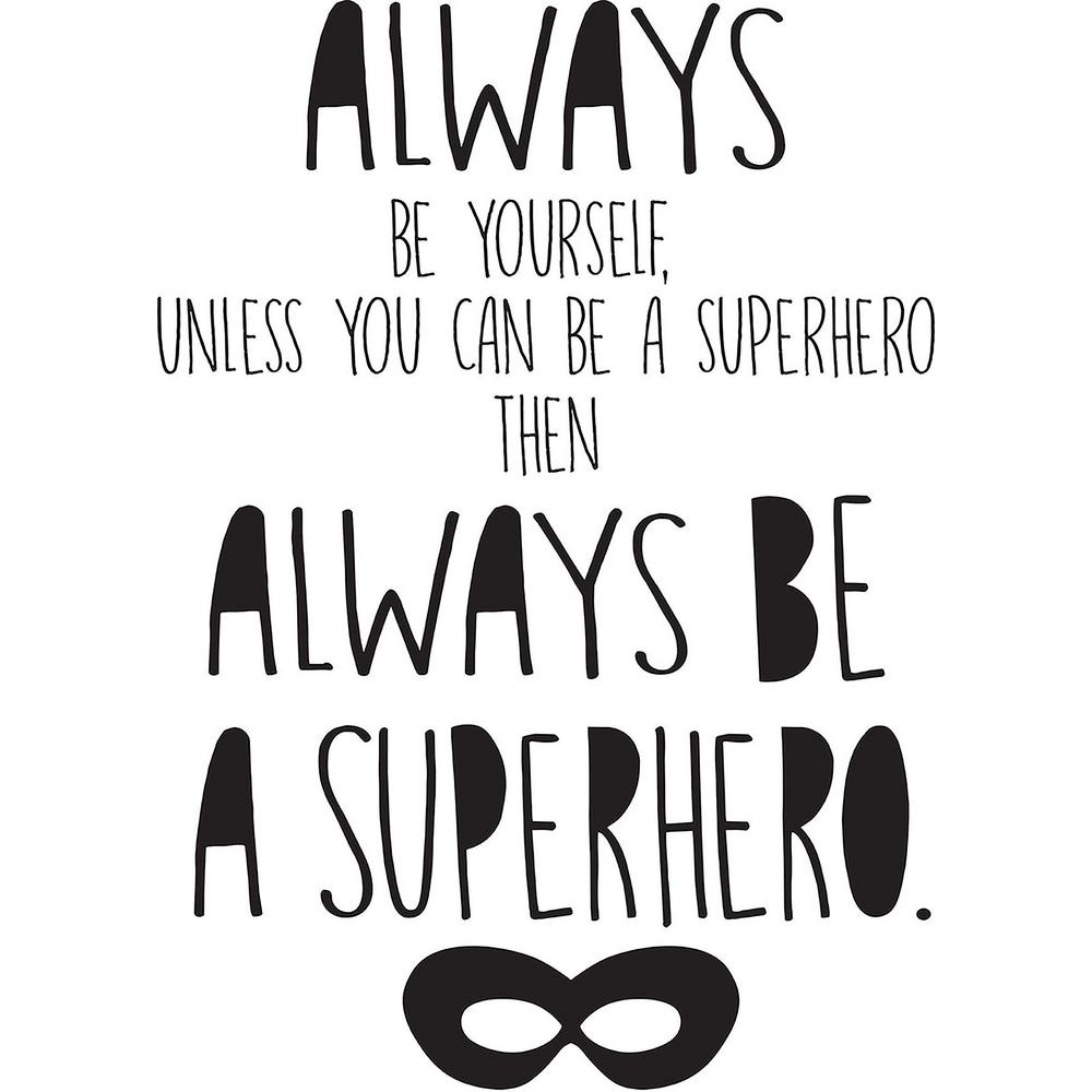 WallPOPs Black Superhero Wall Quote-DWPQ2381 - The Home Depot