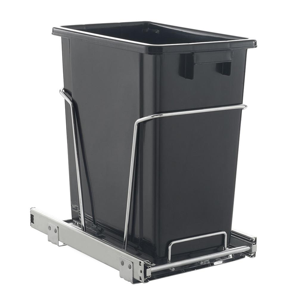 17 qt black pull out trash can k 6450h the home depot. Black Bedroom Furniture Sets. Home Design Ideas